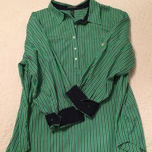 Ralph Lauren 3x shirt green navy stripe